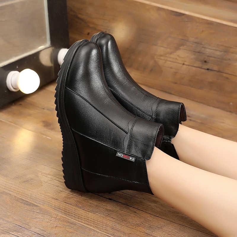 Peipah Kulit Asli Wanita Semata Kaki Hitam Martin Boots Pasang Kaos Kaki Wanita Sepatu Bot Sepatu Bot Zip Wedges Musim Dingin Wanita Sepatu Datar