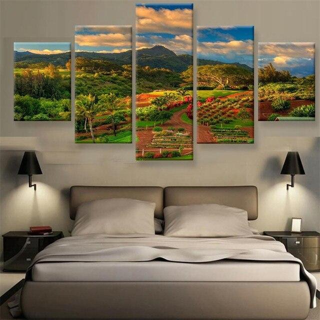 Wunderbar 5 Panel Leinwand Malerei Modulare Decoracion Natur Und Moderne Landschaft  Wand Bilder Für Wohnzimmer