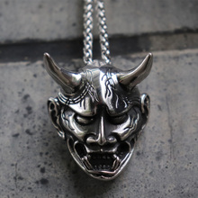 Gothic Punk Mens Anger Hannya Ghost Mask Pendant Necklace for Men Chocker 316L Stainless Steel Fashion Jewelry mask hannya