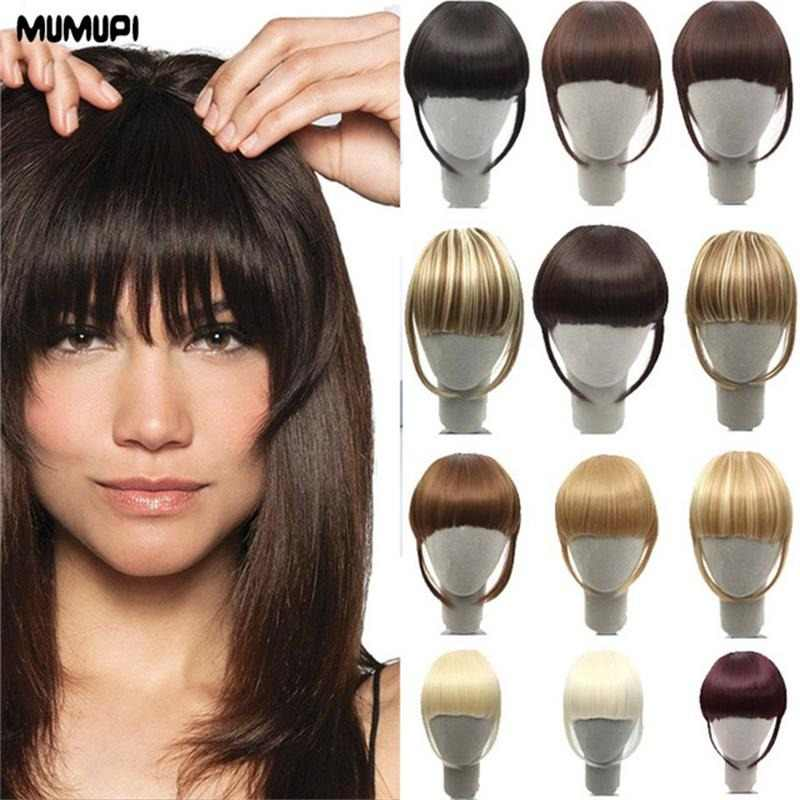 MUMUP Women Fake Bangs Extensions False Fringe Clip On Fringe Hair Claws Brown Blonde Adult Fashion Hair extensions Headwear