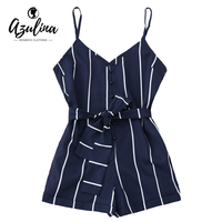 AZULINA Women Playsuits Striped Belted Spaghetti Strap Romper Casual Beach Girls Clothes Short Jumpsuits Women S