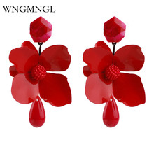 WNGMNGL 2018 Women Drop Earring Fashion New Arrival Party Charm Big petal Resin Jewelry For Ladies Gift Free Shipping