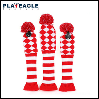 3psc/set Abstract Patroon Knit Golf Club Head Cover voor Driver Hout (460cc), Fairway, Hybrid met Nummer Tag