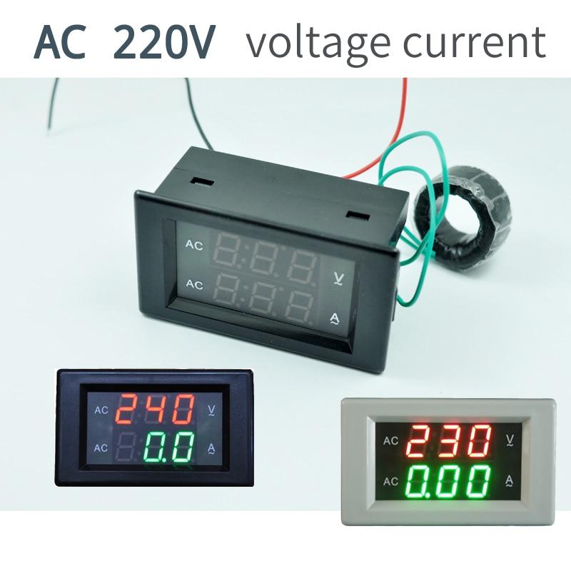 AC300V100A CT 50HZ 110V 220V 240V Digital Voltmeter Ammeter Dual LED Digital Amp Volt Meter Gauge Voltage Meters dual red blue led digital voltmeter ammeter panel volt gauge meter