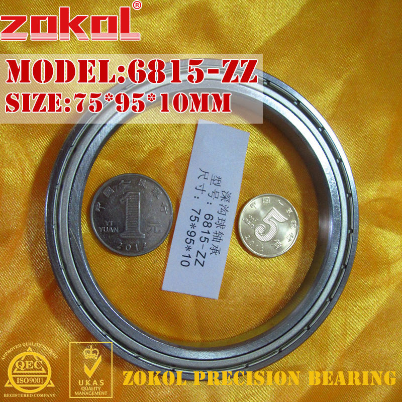 цены ZOKOL 6815ZZ bearing 6815 ZZ 1000815 6815Z Deep Groove ball bearing 75*95*10mm