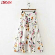 95a18cea864 Tangada летние цветочные женские плиссированные юбки мода 2019 трендовая стильная  миди юбки Повседневная Брендовая женская юбка
