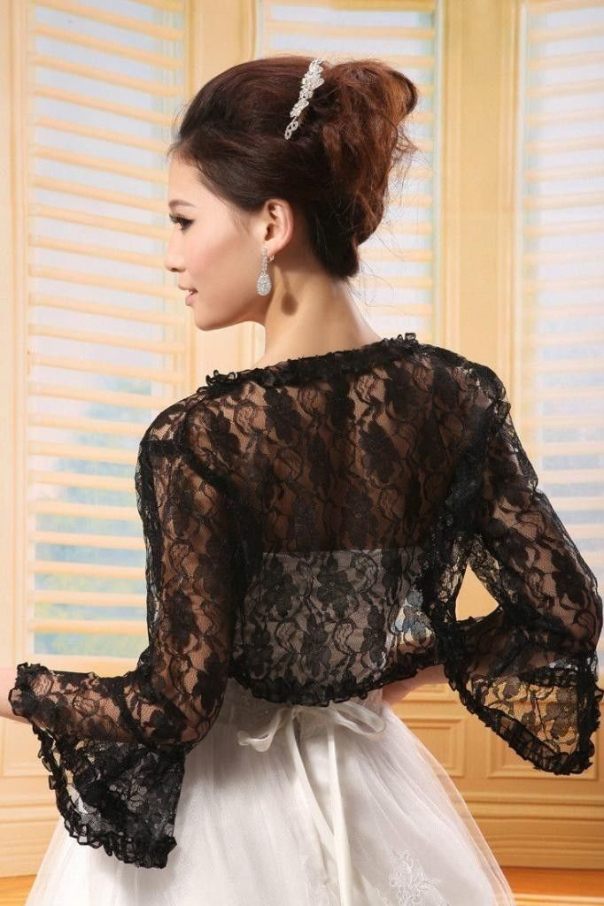 Hot sale black bridal lace bolero jacket shawl wraps cape for Shawls for wedding dresses