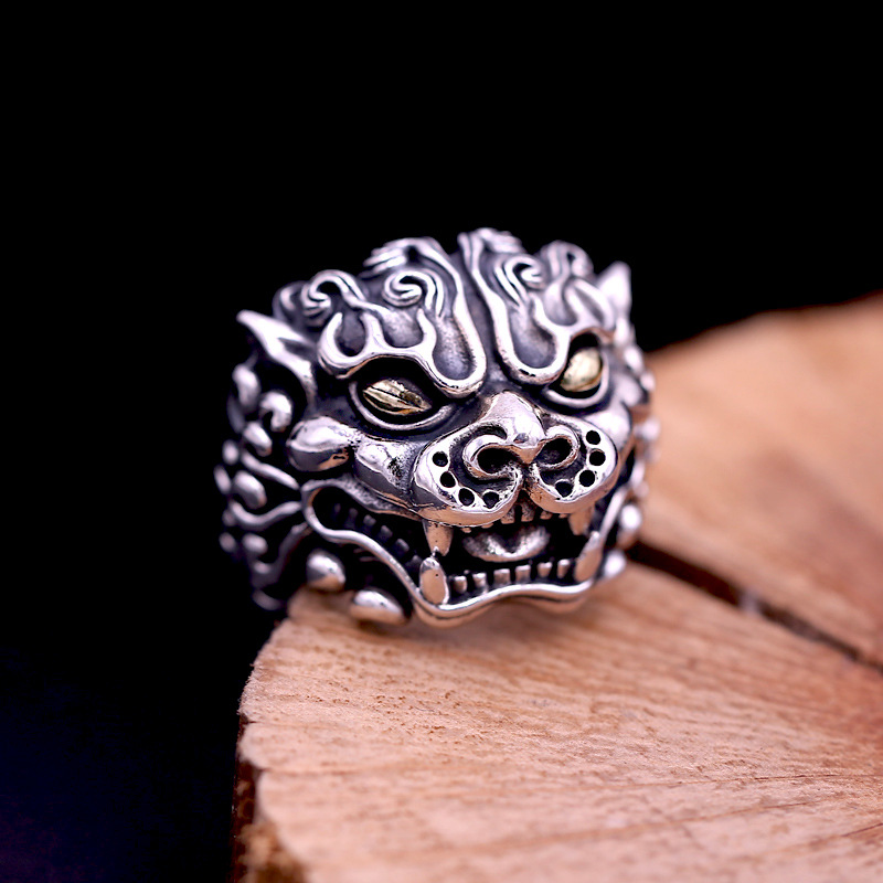 FNJ Pixiu Ring 925 Silver Jewelry New Punk Animal S925 Sterling Silver Rings for Men Statement Adjustable Big Size 10.5-13 bagueFNJ Pixiu Ring 925 Silver Jewelry New Punk Animal S925 Sterling Silver Rings for Men Statement Adjustable Big Size 10.5-13 bague