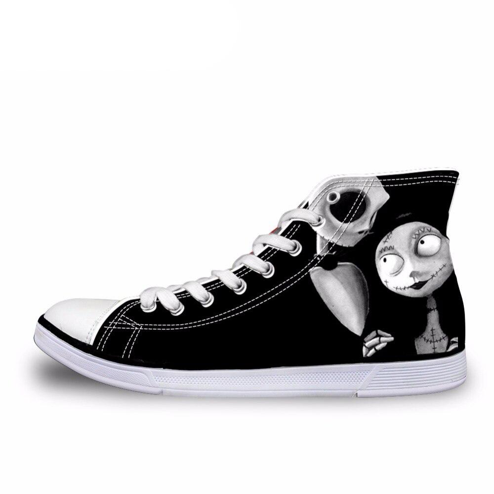 NOISYDESIGNS Vintage noir Punk crâne imprimé chaussures vulcanisées pour dames décontracté femmes haut Top toile chaussures femmes chaussures plates