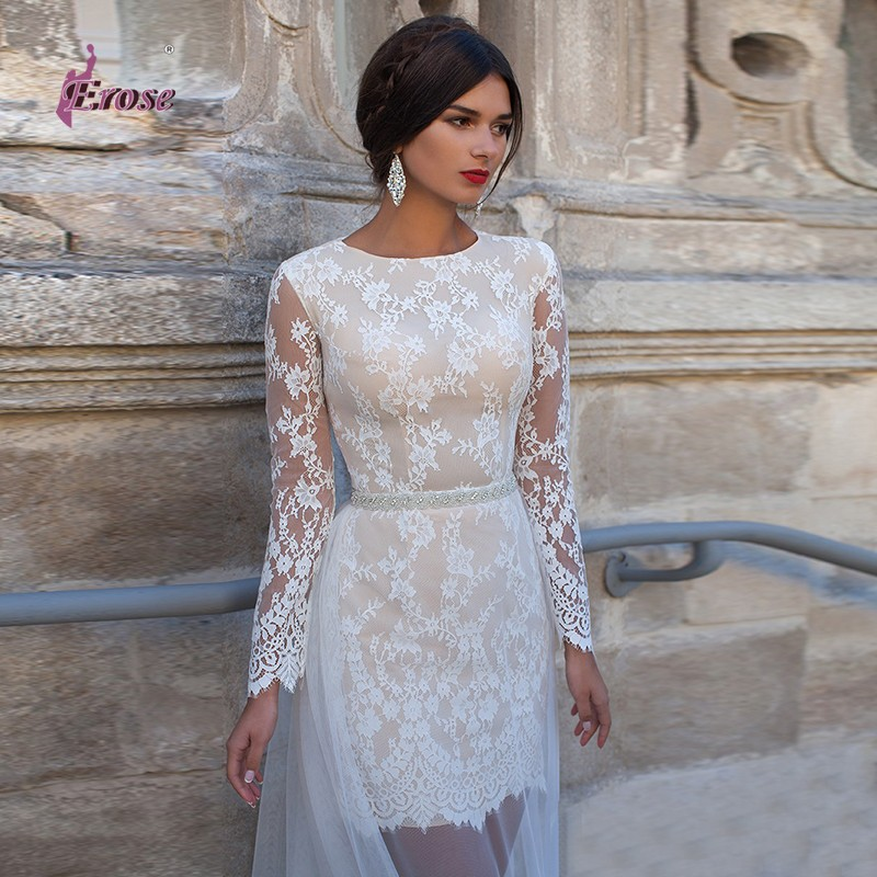 new stunning beach long sleeve scoop neckline ivory lace simple short wedding dress sexy tulle floor