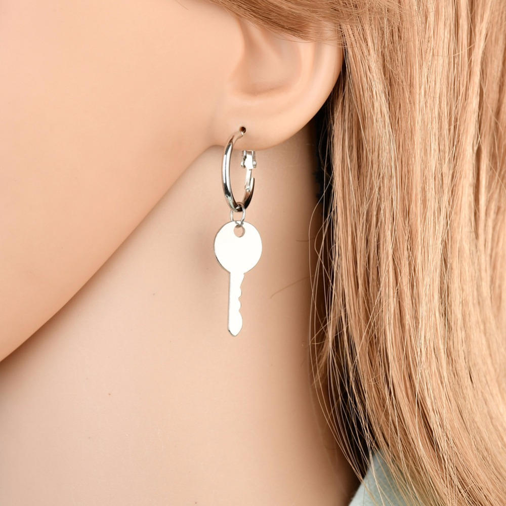 aad0bcd337ec Aliexpress.com   Buy UAM Gold Silver Color Lock Key Drop Earrings Pendientes  Korean Jewelry Asymmetrical Earrings Simple Unique Design Party Gifts from  ...