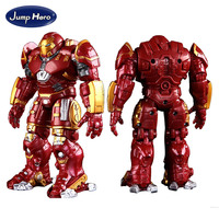 Gold plated Avengers Iron Man Hulkbuster Armor Joints Movable 18CM Mark With LED Light PVC Action Figure Collection Toy #EA