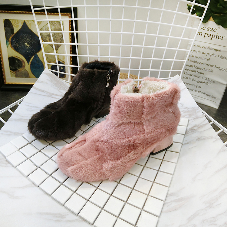 Peluche Talons Hauts Martin Mode bleu Dames Casual Lapin Chaussures Zip Neige 2019 Boot À Zipper Bottes rose En Femmes Noir Hiver x6qwFnq0Ov