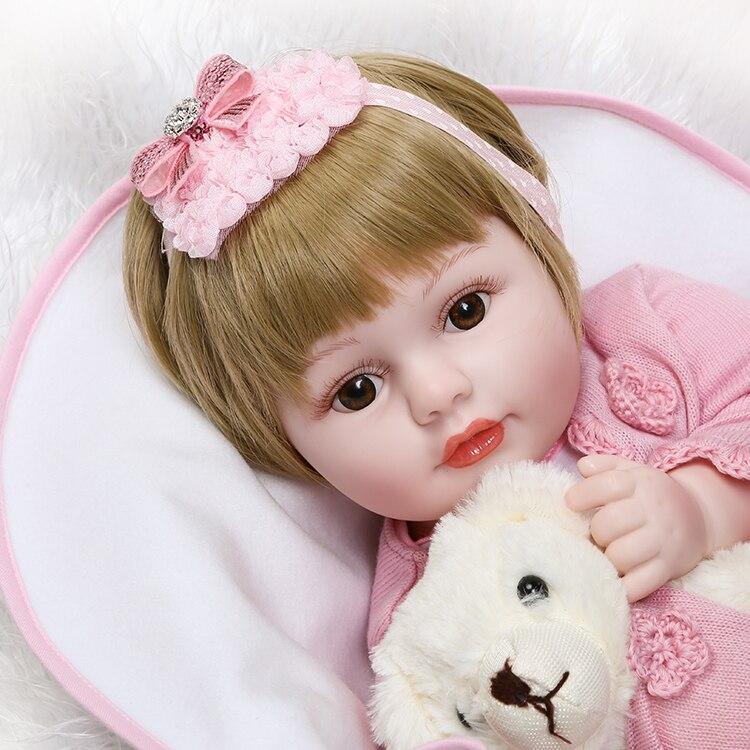 50CM Cute Girl Silicone Reborn Dolls Toys Brown Eyes Short Hair Bonecas Baby Real Alive Bebe Toys Children Gift Kids Playmates