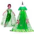 Niñas Elsa Anna Vestido Cosplay Traje de Hadas de la Princesa Verde Vestidos Largos de Lujo Partido capa robe fille niños vestido 4 6 8 10 12 Años