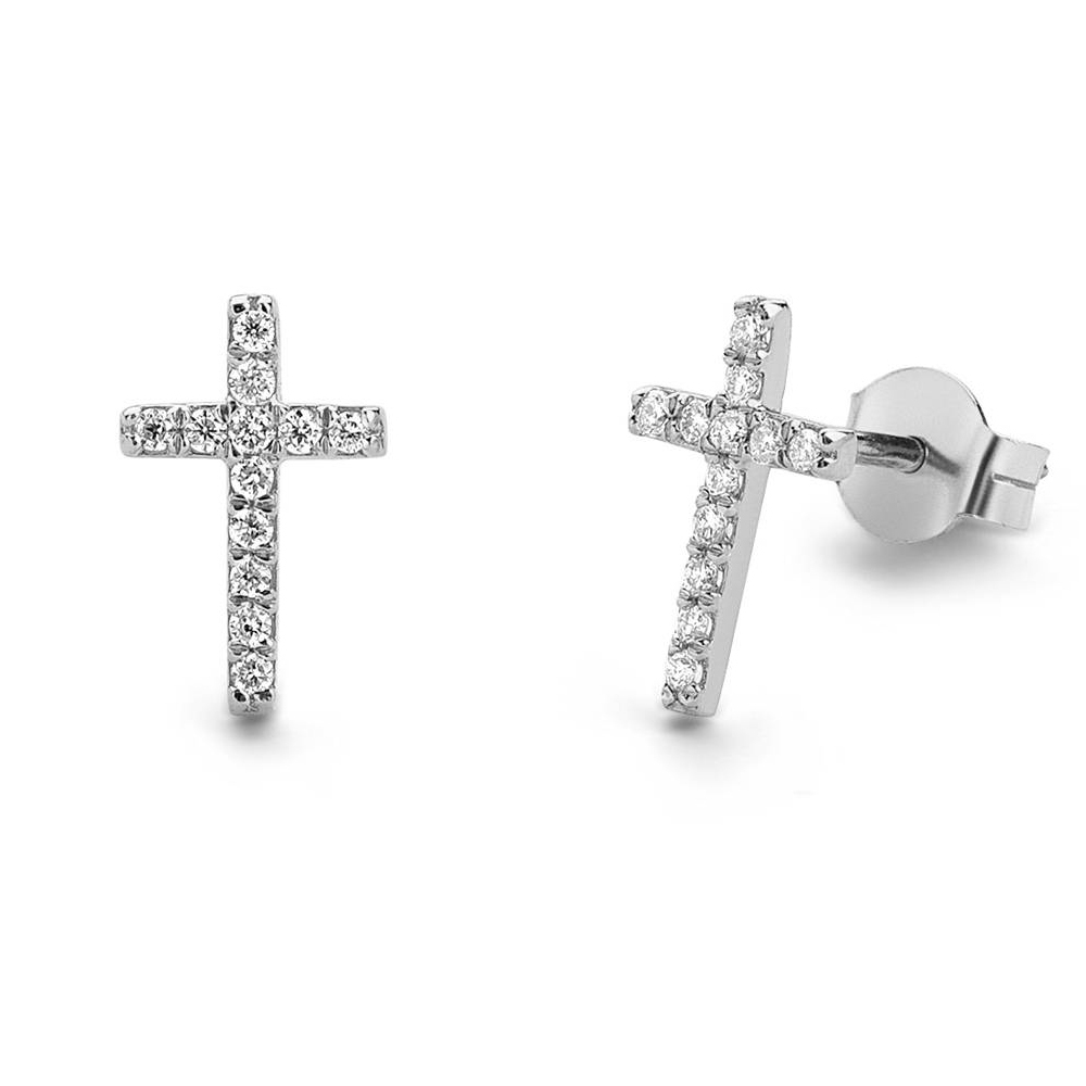 0.14ctw 1.0mm Tiny Diamond Studs Earrings Cross Style Party Earrings in 14k Rose Gold For Women cross style zinc alloy rhinestone women s earrings white golden pair
