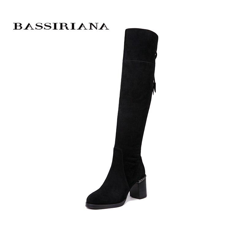 BASSIRIANA Nouveau Over-the-genou Véritable bottes en cuir femmes D'hiver chaussures femme Noir Gris suede Zip 35- 40 haute qualité