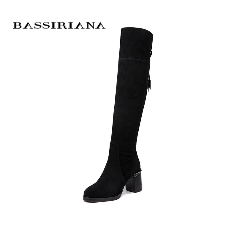 BASSIRIANA nuevo por encima de la rodilla botas de cuero genuino de las mujeres zapatos de invierno zapatos de mujer negro gris con cremallera de 35- 40 de alta calidad