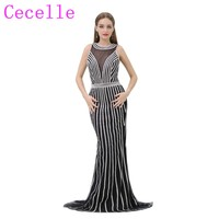 Luxury Black Silver Formal Mermaid Long Evening Dress 2019 New With Open Back Sparkly Couture Custom Made Women Party Dress