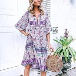 TEELYNN długa Sukienka fioletowy kwiatowy print rayon sexy dekolt w serek z długim rękawem kobiety sukienki czechy luźne Gypsy sukienki Sukienka vestido 1