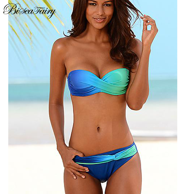 Biseafairy Sexy Bikini Push Up Swimwear Women Swimsuit 2017 Bandeau Gradient Color Brazilian Bikini Set Beachwear Bathing Suits Купальник