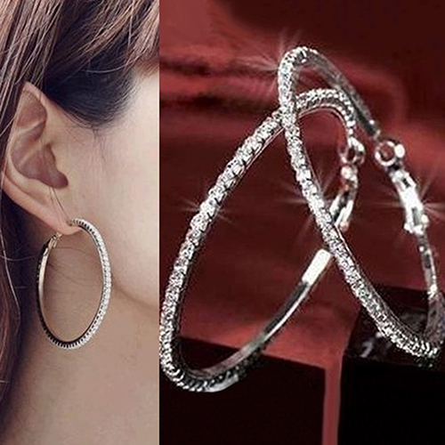 Womens Luxury Party Crystal Rhinestone Earring Hoop Ear Ring Jewelry Charms ...