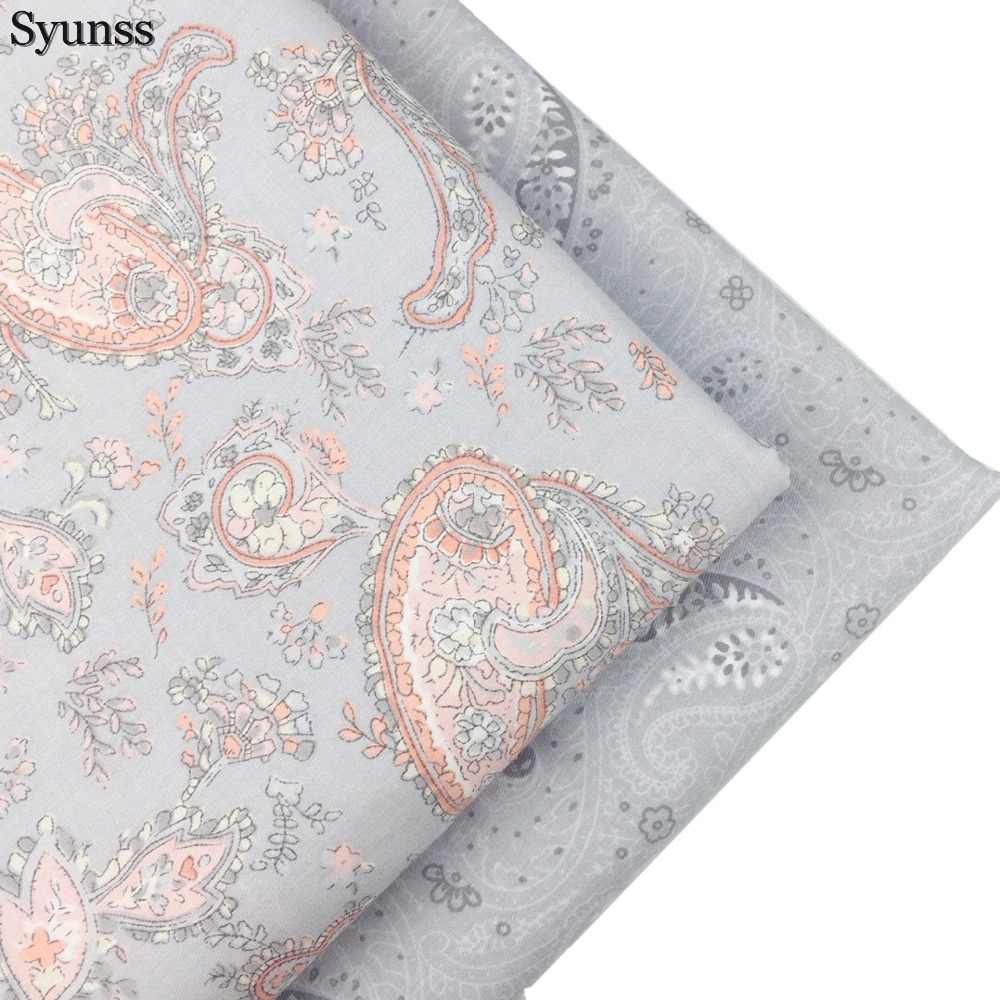 Syunss Gray Floral Printed Twill Cotton Fabric DIY Handmade Sewing Patchwork Baby Cloth Bedding Textile Quilting Tilda Tissus