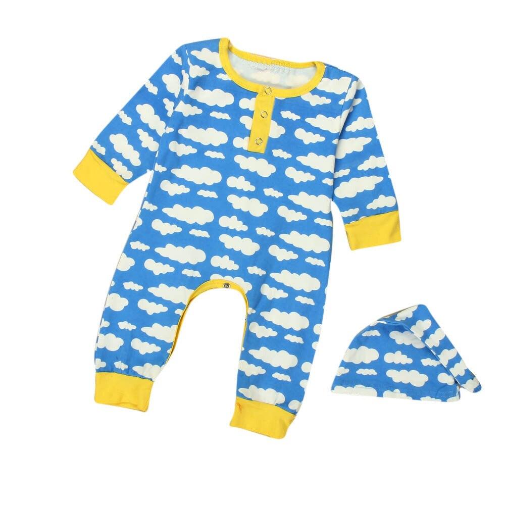 LONSANT Baby Kids Boy Girl Infant Long Sleeve Romper Clothing Jumpsuit Hat 2PCS Set Children Baby Clothes