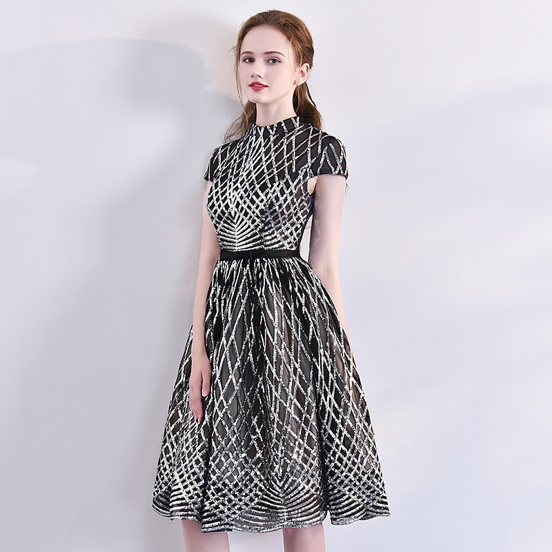 New Arrivals Short   Evening     Dresses   Woman Lace High-Neck Black A-Line Party Gown Custom Formal   Dresses   LF359