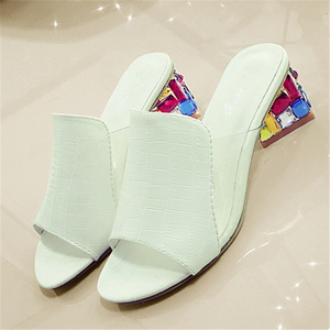 Image 2 - Rhinestone Heel Shoes Peep Toe Womens slippers Sexy Open Toe Shoes Wedge Non slip Womens  High Heel slippers Flip Flop Plus 41