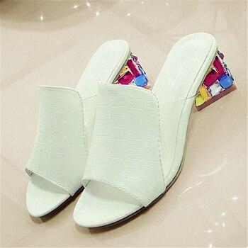 Rhinestone Heel Shoes Peep Toe Women's slippers Sexy Open Toe Shoes Wedge Non-slip Women's  High Heel slippers Flip Flop Plus 41 1