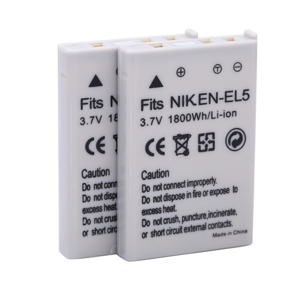 2 unids/lote 1800mAh EN-EL5 ENEL5 es EL5 de batería de la cámara para NIKON Coolpix P530 P520 P510 P100 P500 P5100 P5000 P6000 P90 P80 cámaras