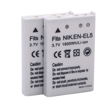 2pcs/lot 1800mAh EN-EL5 ENEL5 EN EL5 Camera battery For NIKON Coolpix P530 P520 P510 P100 P500 P5100 P5000 P6000 P90 P80 Cameras