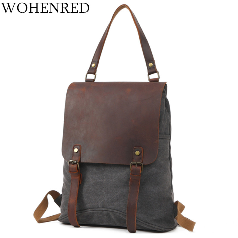 Women's Backpacks Vintage Shoulder Bag College Style School Backpack Leather Men Bookbag Neutral Design Casual Canvas Travel Bag oil wax canvas backpacks for women and men classic vintage leather bookbags school bag college travel green backpack
