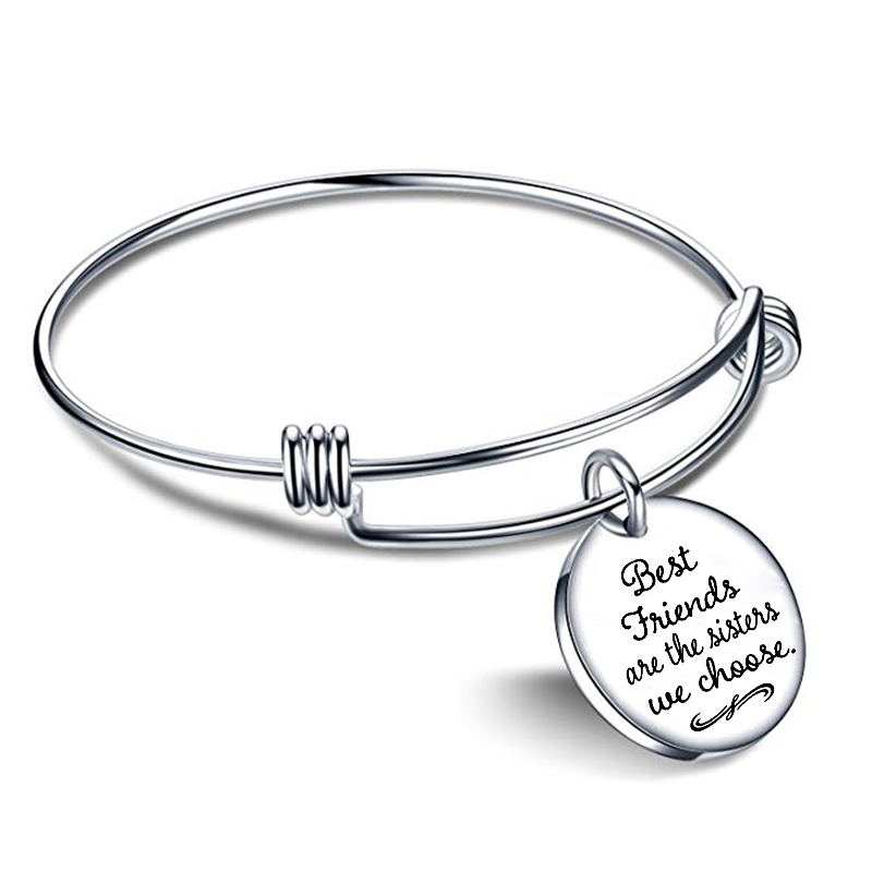 Stainless Steel Trendy 39 39 Best Friends Are The Sisters We Choose 39 39 Charm Friendship Bracelets Cuff Bangle for Women in Charm Bracelets from Jewelry amp Accessories