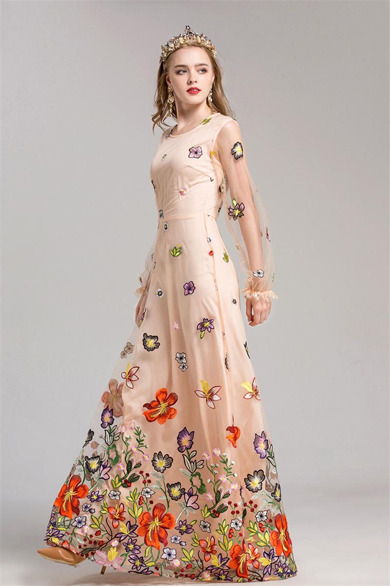 HTB1jcJagOqAXuNjy1Xdq6yYcVXai - 2018 Spring High Quality Mesh Floral Embroidery Long Dress Full Sleeve Vintage Flower Black Runway Designer Maxi Women Desses