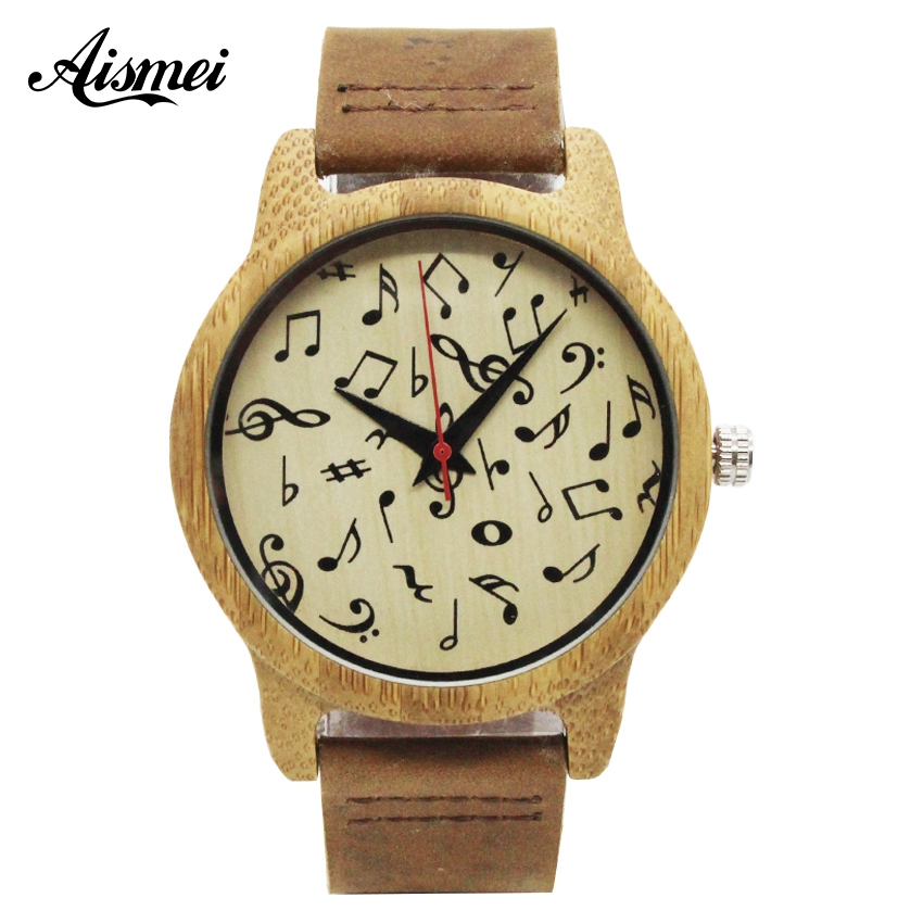 Aismei Men Women Wood Quartz Watches Musical signs Dial Bamboo Wood WristWatch fashion Gfit Casual Watch Relogio Masculino