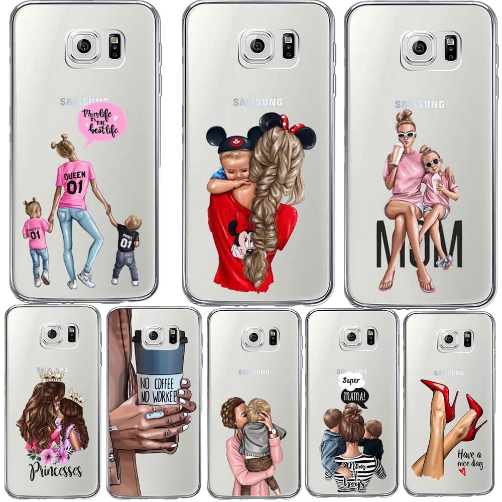 No hay café Super negro marrón pelo bebé mamá de la cubierta del TPU del teléfono para Samsung Galaxy S10 S10E S10Plus A750 A7 A6 más A8 Plus 2018