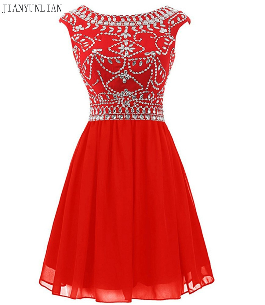 Red Black Chiffon Short Lady Girl Gown Vestidos De Gala Beaded Crystals Top Short Cocktail Dresses Sheer Sleeveless Backless