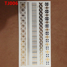 1PC Flash Metallic Waterproof Temporary Tattoo Gold Silver Men Women Henna Lucky Flower Necklace Design Tattoo Sticker TJ-006