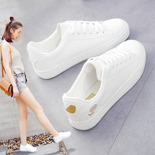 White Shoes Woman Flat Leather Walking Shoes All Match Girl Flat Embroidery Student Sports Low Shoes Tidal Flow Travel Shoes;