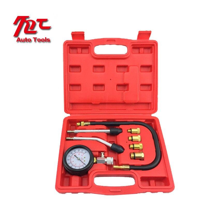 8 PCS Petrol Gas Engine Cylinder Compressor Gauge Meter Test Pressure Compression Tester Leakage Diagnostic