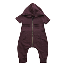 Newborn Toddler Baby Boys Hooded Zipper Romper Jumpsuit Playsuit Outfits