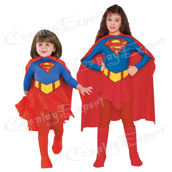 free shipping dhl cheap wholesale anime supergirl child costume kids halloween costume child halloween costume kc013 - Halloween Children Costumes