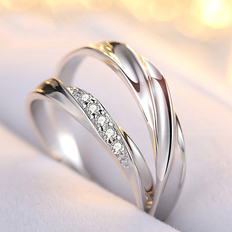 Solid 925 Sterling Silver Ring Engagement Zircon anel for Women Wedding round elegant and graceful Couple Rings LR1540S in Rings from Jewelry Accessories