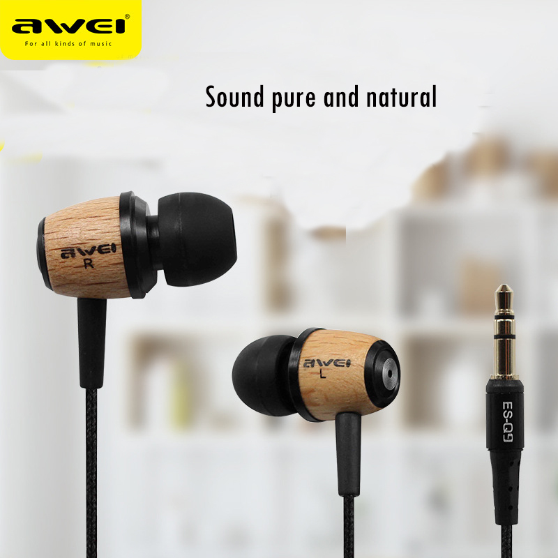 Awei Q9 In-ear Headphones Super Bass Headset Fone de ouvido Wooden Earphone Stereo Auriculares Audifonos for Xiaomi Mobile Phone