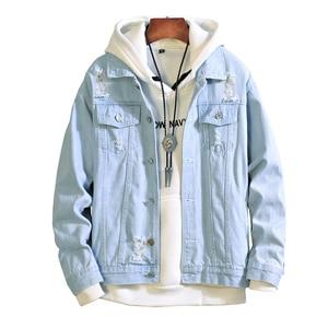 Image 1 - New  men jeans jacket mens Bomber Jackets Men hip hop Man Vintage Denim Jacket coat Streetwear Chaqueta Hombre  S XL XXL