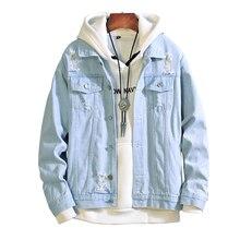 Nowi mężczyzna jeansowa kurtka mężczyzna kurtki pilotki mężczyzna hip hopowy mężczyzna rocznika dżinsowa kurtka żakiet Streetwear Chaqueta Hombre S XL XXL