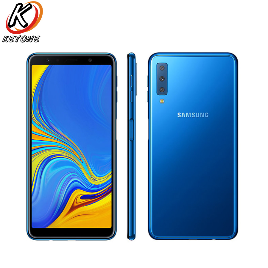 New Samsung Galaxy A7 A750F-DS 2018 4G LTE Mobile Phone 6.0″ 4GB RAM 64GB ROM Three Rear Camera Android Fingerprint Smart Phone