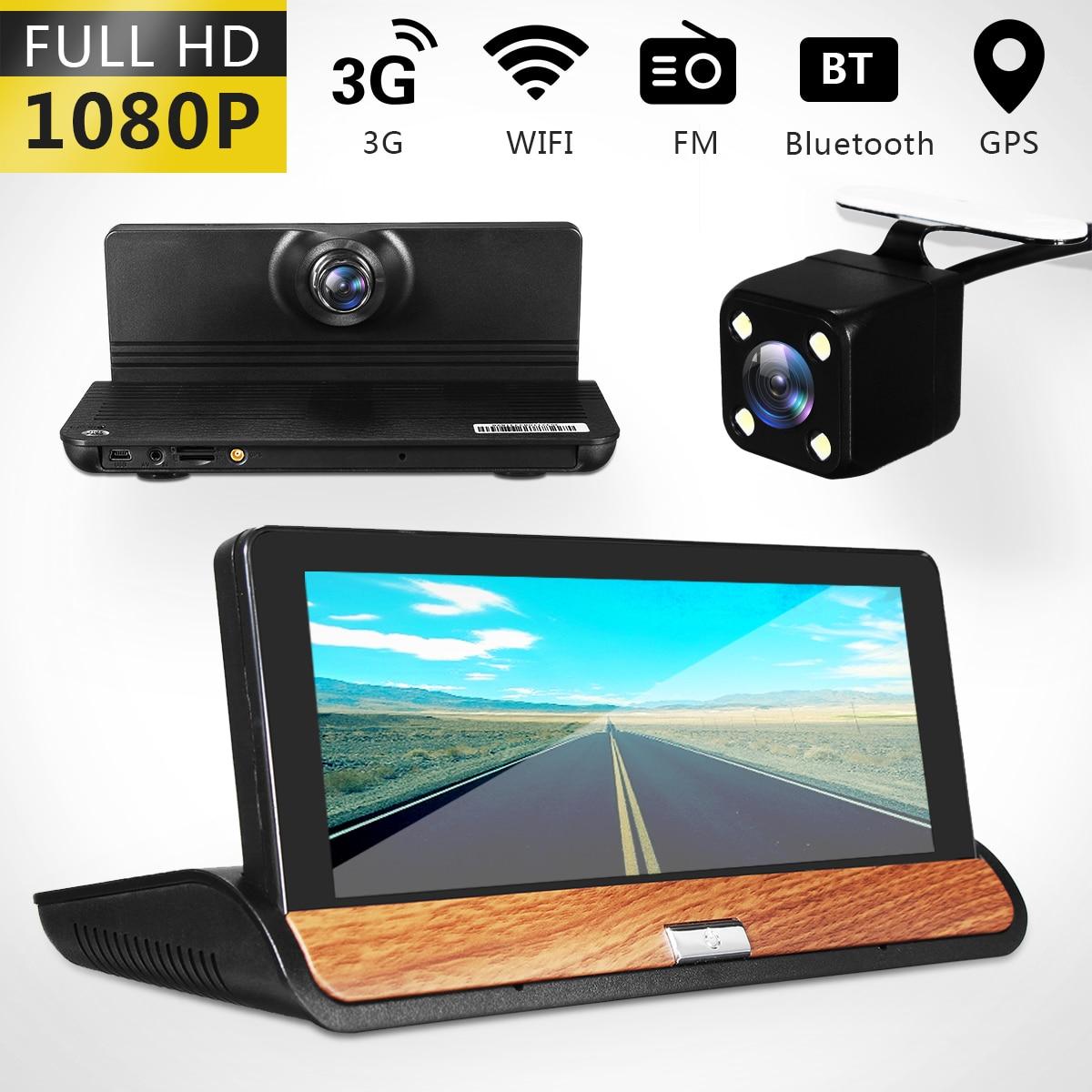 цена на 7inch Wifi Bluetooth Car DVR Rear View Mirror Monit Dual Lens HD 1080P Car Dashboard DVR Dash Camera Video Recorder G-Sensor GPS